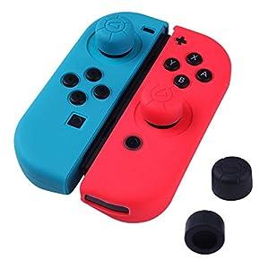 ANGPO für Nintendo Switch Joy Con Hülle aus Silikon, Abdeckung Daumen Kappen Schutz Ultra Thin Ergonomisches Design