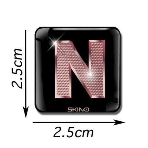 Skino 3D Gel Buchstaben Aufkleber ABC A-Z SELBSTKLEBEND Sticker Alphabet Etiketten Schriftzeichen Rose Gold Auto Handy HÜLLE (N), L 40 -
