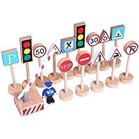 Bongles 16pcs DIY Que Mini De Madera De La Calle Señales De Tráfico De Tráfico Modelo Bloque Educativo del Poste Indicador De Tráfico Ambiente De Juguetes Educativos