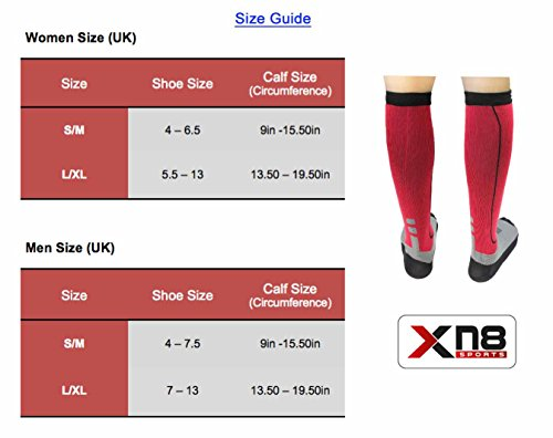 Xn8-Sports-Pack-of-2-Compression-Socks-for-Men-Women-Socks-for-Running-Hockey-Cricket-Flight-Travel-Yoga-Nurses-Shin-Splints-Maternity-Pregnancy-Boost-Stamina-Recovery-Circulation