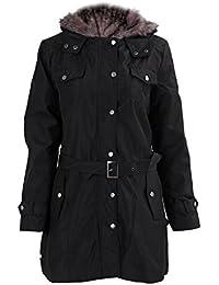 SODIAL (R)caliente mujeres espesan la capa caliente del invierno Abrigo con capucha anorak Chaqueta Larga abrigo Negro - XXL