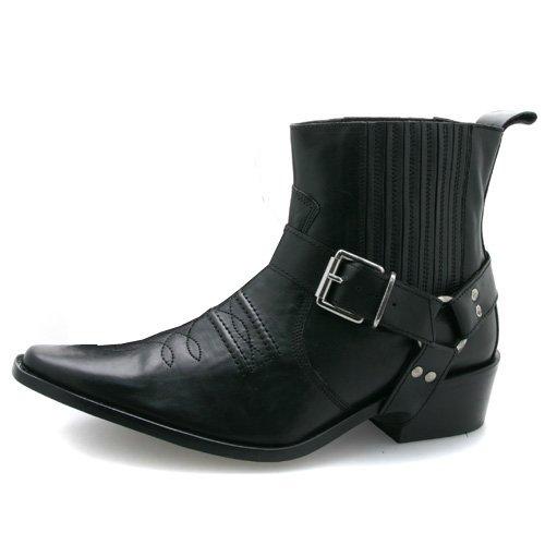 Black Leather Cowboy Boots by Gringos Mens Cowboy Boots