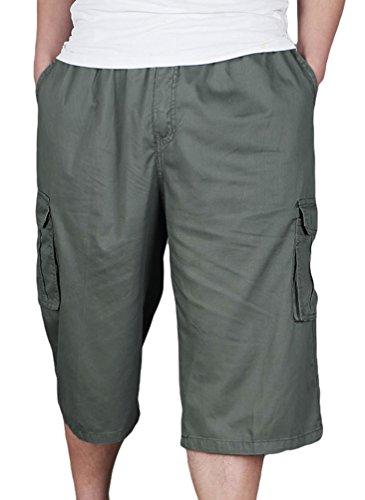 Heheja Herren Bermuda Cargo Shorts Mit Taschen Männer Baumwolle Vintage Kurze Hosen 3 4 Lang Armee Grün XL