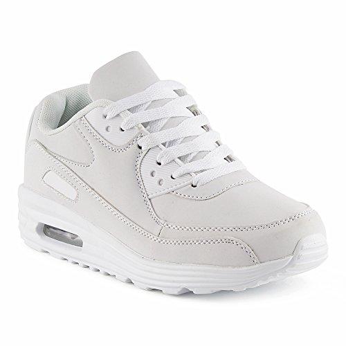 FiveSix Herren Damen Sportschuhe Dämpfung Sneaker Laufschuhe Weiss-W EU 40 (High-top Nike-turnschuhe Für Männer)