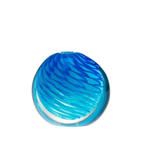 YourMurano Atlantik Deko Vase aus Glas von Murano, Runde Form, Blau, elegantes Design, hochwertige Mitteldecke, Idee Geschenk, Glas mundgeblasen, italienisches Design, 100% Marke Ursprungs garantiert (Niedrige Runde Glas-vase)