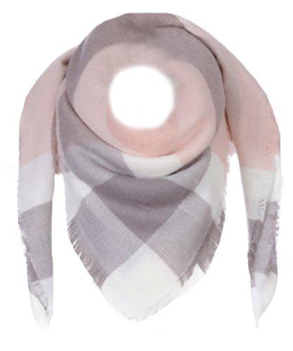 XXL Schal Karo (Rosa / Grau/ Weiß) (Schal Damen)