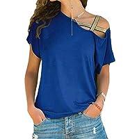 GRMO Women Criss One-Shoulder Summer Irregular Hem Short Sleeve Plus Size Top T-Shirt Blouse 3 5XL