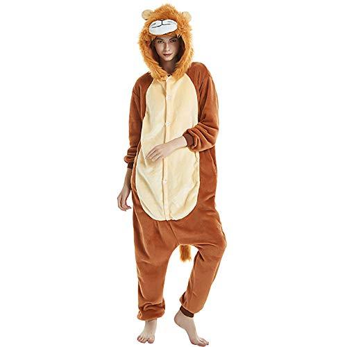 Comtervi Pyjamas Kostüm Jumpsuit Schlafanzug Plüschtier Flanell Halloween Kostüm Tier Cosplay (Löwe, S)