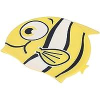 Wenquan,Gorro de baño de Silicona Resistente al Agua para niños de Dibujos Animados Lindo tiburón de Pescado(Color:Amarillo,Size:Pescado Rayado)