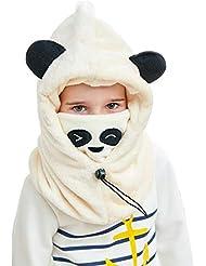 f190fefd753 DAWNTUNG Cagoule Enfant Polaire Epais Chaud Hiver Bonnet Echarpe Cache Cou  Oreilles Cagoule de Ski Animal