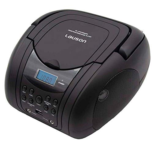 Lauson CD-Player | Tragbares Stereo Radio | USB | CD-MP3 Player für kinder | Stereo Radio | Stereoanlage | Kopfhöreranschluss | AUX IN | LCD-Display | Batterie sowie Strombetrieb | CP441 (Schwarz)
