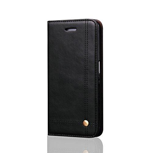 C-Super Mall-UK Apple iPhone 7 Plus hülle,Retro Qualität PU-Leder starke magnetische Schnalle Mappen-Standplatz -Schlag-hülle für Apple iPhone 7 Plus (braun) black