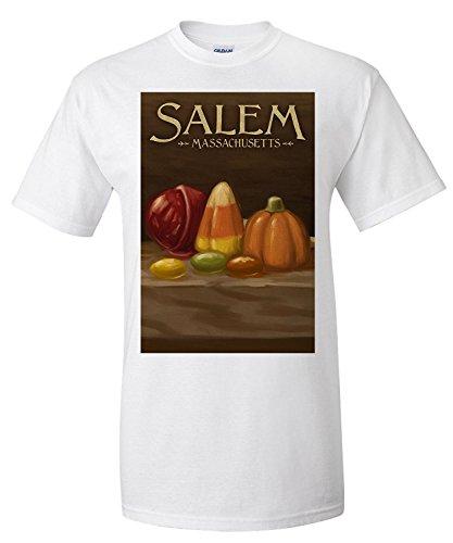 Salem, Massachusetts - Candy - Halloween Oil Painting (Premium T-Shirt)