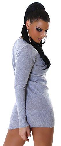 Jela London Damen Strickkleid & Pullover einfarbig Einheitsgröße (34-40) Grau