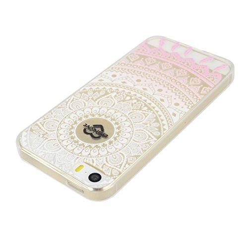 Étui Pour iPhone 5 5S SE, Asnlove Premium Silicone TPU Housse Souple Transparent Coque Antichoc Cas Fine Graphique Cover Ultra Mince Antidérapant Case Pour iPhone 5/5S/SE, Fleur Totem-2 Groupe 3