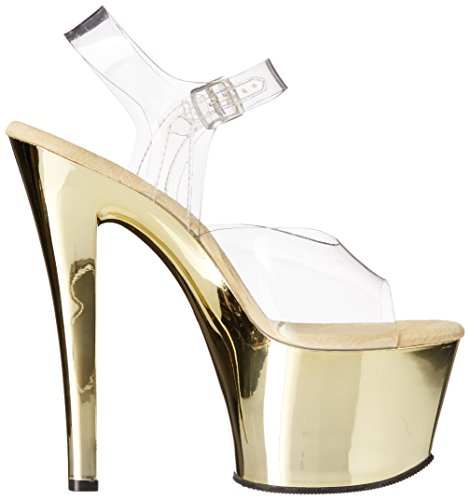 Pleaser PleaserSky308/c/hpch - Sandali Donna Oro (Clr/Gold Chrome)