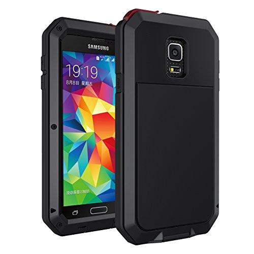 Seacosmo Galaxy S5 Hülle, Aluminium Doppelte Schutz Stoßfest Ganzkörper Schutzhülle mit eingebauter Displayschutz für Samsung Galaxy S5, Schwarz