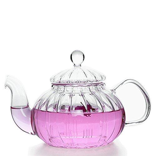 wdragon Klauenhammer, Küche Borosilikat Kürbis Glas Krug Teekanne mit-Ei und Bambus Untersetzer Tee Wasserkocher (Glas Und Bambus-tee - / Wasserkocher)