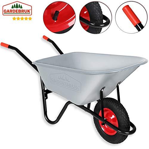 Monzana® Schubkarre 100 Liter | bis 250kg Belastbarkeit | Luftreifen mit Stahlfelge | verzinkt | stabile Ausführung mit Aufliegewanne | Bauschubkarre Gartenschubkarre - 2