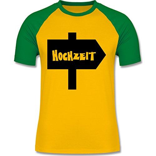 JGA Junggesellenabschied - Hochzeit - zweifarbiges Baseballshirt für Männer Gelb/Grün