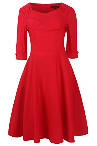 YACUN Le Donne Vintage A Festa Vestito Elegante Swing Red