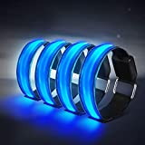 Tabiger LED Armband, 4-Pack Glow Bracelet Safety Light-Up Sports Wristband Ankle Reflective Strips with LED Flashing Lights for Running, Jogging, Cycling, Biking, Dog Walking at Night (Blue)