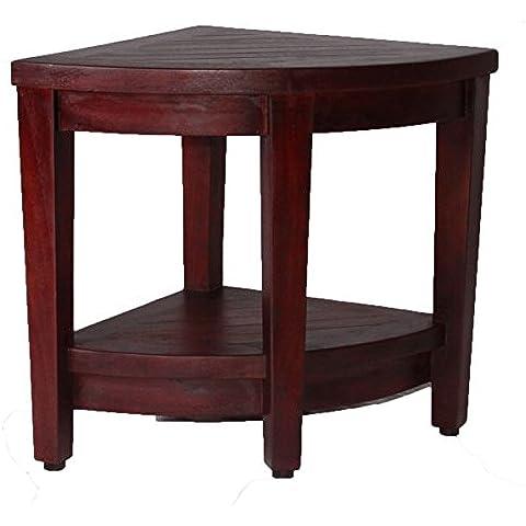 Oasis Totalmente montado ducha de esquina de madera de teca banco con shelf- ducha sentado, ahorro de almacenamiento, reposapiés