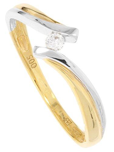 MyGold Damen Verlobungsring Gelbgold Weißgold Weissgold 585 Gold (14 Karat) Bicolor Mit Stein Brillant 0,05ct. Solitär Heiratsantrag Damenring Goldring Geschenke Für Frauen Diamond Life MOD-01669
