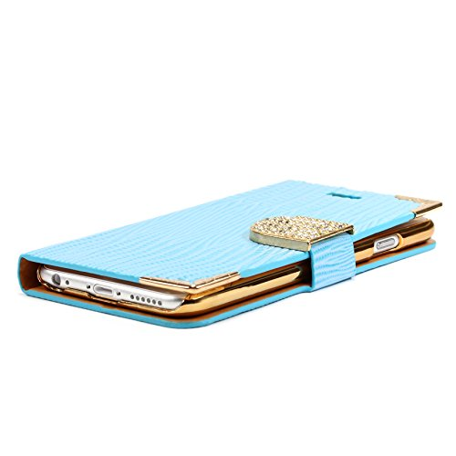 iPhone 6 Plus / 6s Plus Étui, Urcover Crocodile Bling Wallet Case [avec Support -Stand] Housse Blanc Coque Apple iPhone 6 Plus / 6s Plus Fermeture Magnétique Bleu