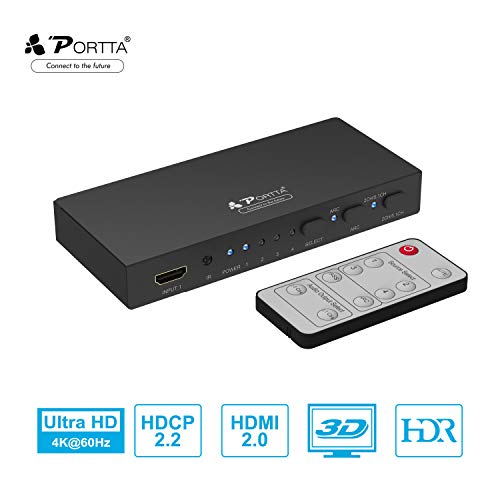 Portta HDMI Switch 4K@60HZ 4x1 Umschalter mit Audio Extraktor Toslink SPDIF Optical Coaxial Stereo & ARC, Splitter HDMI Switch 4 In x 1 Out mit Fernbedienung HDCP2.2 HDR 4Kx2K PS3/PS4/X-Box DVD HDTV (Mit Fernbedienung Av-switch)