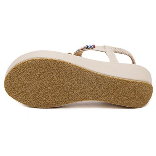 best service ee45d 8080f ... DENGBOSN Femmes Summer Beach Chaussures Perlée T Strap Sandales Flip  Flops Plateforme Femme Wedges beige1 ...