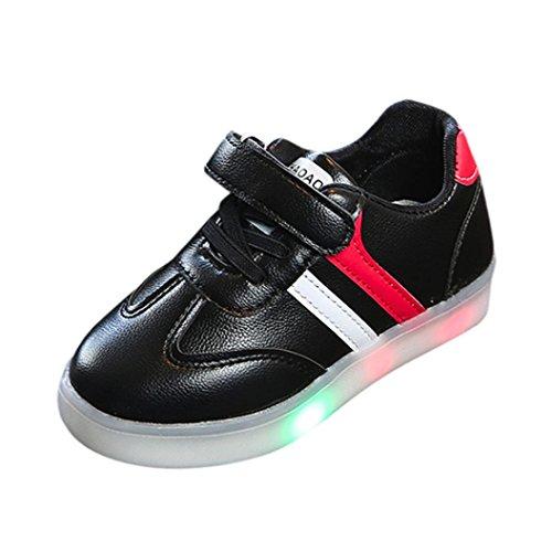 SOMESUN Fashion Baby Jungen Mädchen LED Licht Schuhe Kinder Leuchtend Weiche Sohle Elastisch Atmungsaktiv Mesh Klassisch Gestreift Beiläufig Freizeit Sport Turnschuhe (EU24, Schwarz)