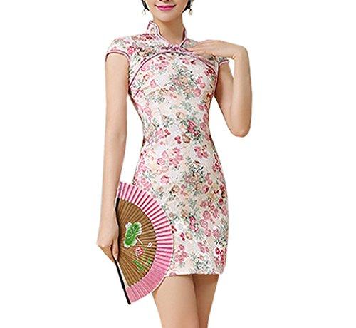 Luck Femme Qipao Chinois Jupe Moulante Classique Imprimé en Coton Couleur5