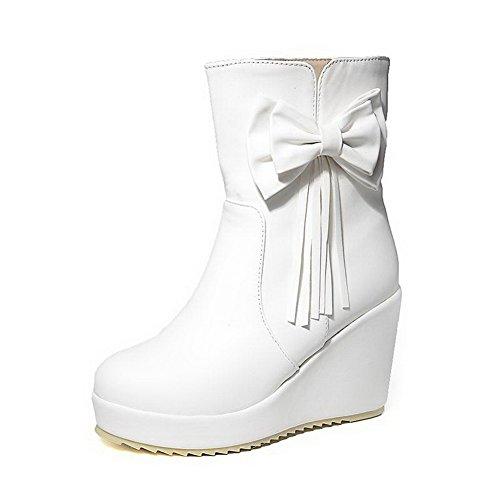 VogueZone009 Donna Punta Tonda Bassa Altezza Tacco Alto Puro Luccichio Stivali con Cappio Bianco