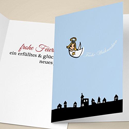 nachtskarten mit schwebendem Engel, mit ihrem Innentext (Var10) drucken lassen, als Weihnachts Gruß / Neujahrskarte / Firmen Weihnachtskarte für Kunden, Geschäftspartner, Mitarbeiter: Frohe Weihnachten (Individuelle Foto-weihnachtskarten)