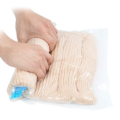Qliver 8tlg. Set Reise Vakuumbeutel zum Rollen per Hand 8 Stück |Vakuum Aufbewahrungbeutel für Reise , Kleidung, Decken, Handtücher|Reise vakuum Kleiderbeutel|keine Pumpe benötigt|3 verschiedene Größen|transparent