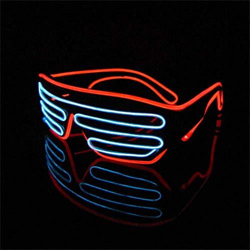 LERWAY Brillen Zwei Farben EL Neon Draht Brille LED Partybrille Soundsteuerung Sonnenbrille Halloween Weihnachtsdekoration Neujahr Geburtstag Club Bar Disco Kostüm (Weiß+Rot)