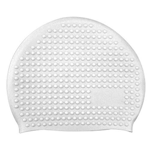 Schwimmhaube Unisex Männer Bademütze Sommer Badekappen für Charmming Ladies Bath Hut Seamless 100% (Weiß,Free)