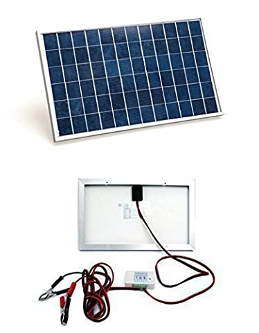 ECO-WORTHY 10 Watts Solar Panel System Kit: 1pc 10W 12V Solar Module with 3A Charge Controller With Battery Cables 12 Volt battery Charger for RV Boat