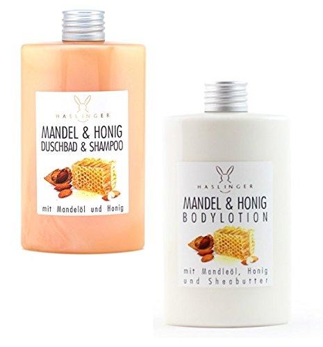 Mandel Honig Duschbad & Shampoo und Bodylotion mit Mandelöl und Sheabutter, Körperpflege 2er Set (2x 200 ml) -