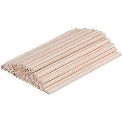 WINOMO 100pcs 30x 0.6cm en bois rond Barres de cheville Bâtons pour l'artisanat du bois DIY Modèle de construction