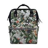 FBTRUST Schnee- und Obstbäume-Muster, große Kapazität, Reiserucksack, Muttertasche, Wickeltasche für Babypflege