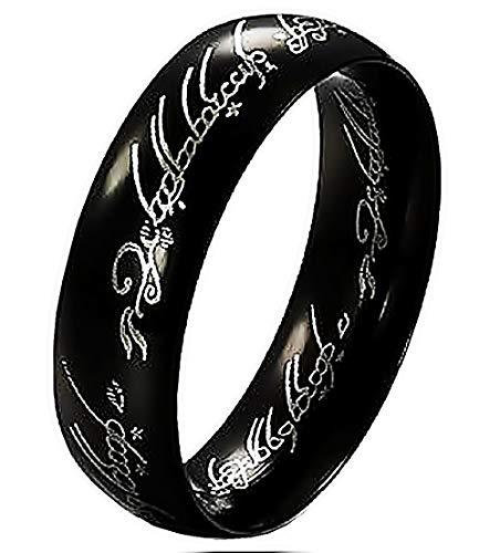 EVRYLON Herrenring Ring für Herren Der Herr Der Ringe Lord of The Rings Kino Schwarz Fernsehserie Messen Schwarze Farbe Ringgröße DE 53 (16.9)