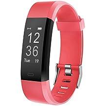 Fitness Tracker Muzili Sports Fitness Pulsera Running Wristband Fitness Pedometer de la venda con el monitor de la frecuencia cardíaca / Tracker del paso / Monitor del sueño Monitor / control de la música para el iPhone y el teléfono de Android (Rojo)