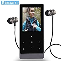 MP3 Player 8GB Hi-Fi Lossless Sound Bluetooth Music Players with Touch Button & FM Radio and Voice Recorder Function, Support Expandable up to 32GB (Black)