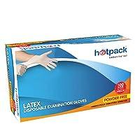 Hotpack Latex Disposable Examination Gloves, Medium, 100Pcs