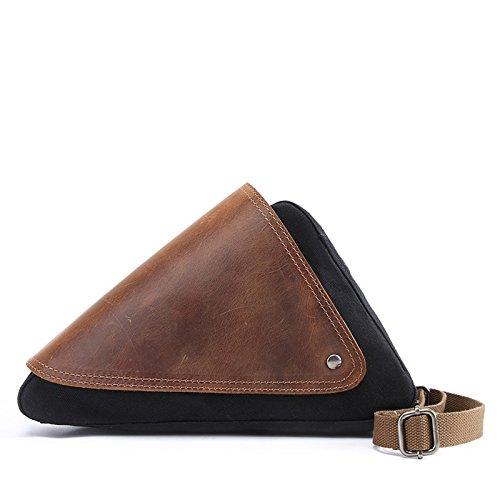 Mefly Uomini Casuale Della Mammella Caratteristiche Sacchetto Individuale Obliqui Di Spallamento Trasversale Travel Bag Sacchetto Impermeabile Caffè black