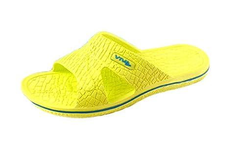 Damen Badeschuh Badeschlappen Badelatschen Strandschuhe - Farbe: Lemon - Größe: 38