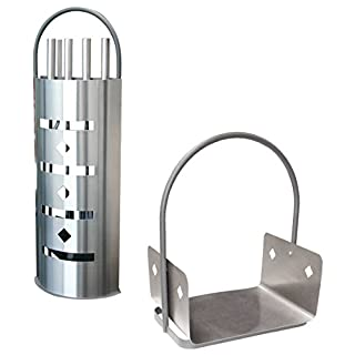 ALPERTEC Fireplace Tool Set with Stainless Steel Cover and Wooden Basket, Set of 2, Satin Finish, 39020950