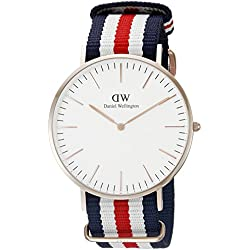 Daniel Wellington - Reloj analógico para caballero de nailon blanco